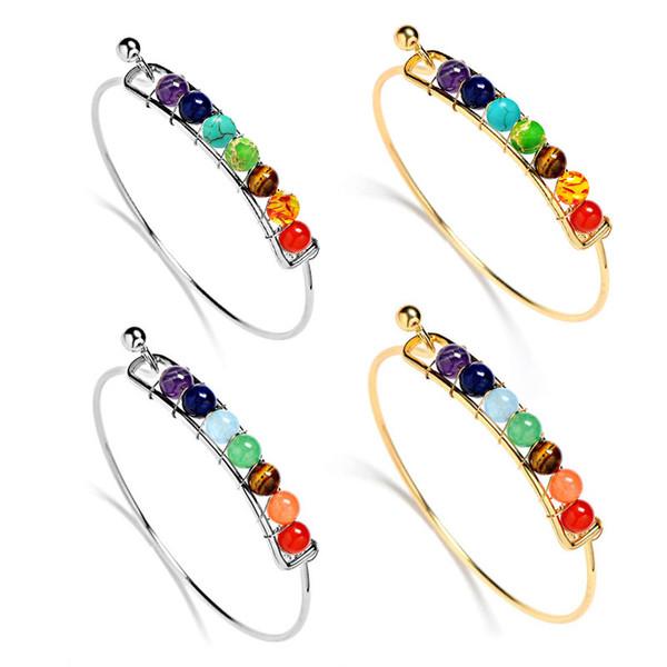Fashion 7 Chakra Healing Adjustable Balance Bracelet Yoga Reiki Prayer Bangle Charm Bracelet Women Jewelry Gold & Silver 4 Styles M11F