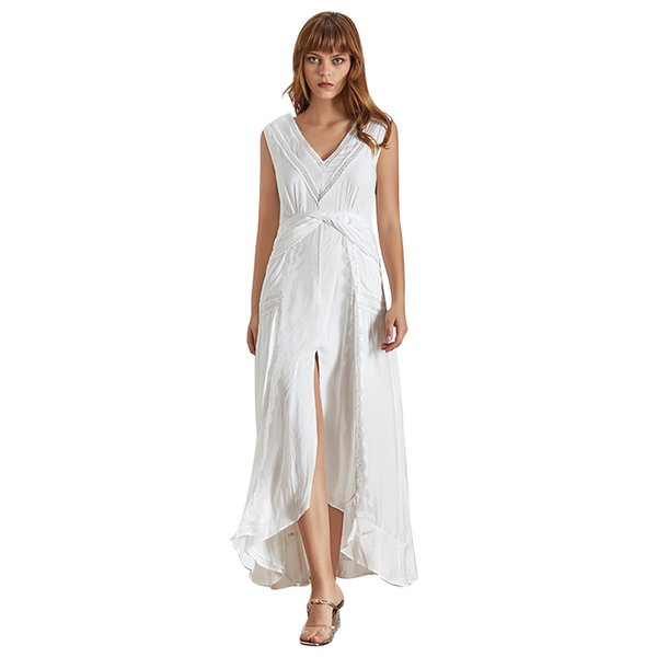 Elegant Women Dress Sleeveless V Neck High Waist Lace Patchwork Ankle Length Dresses Female Fashion Summer 2019 New