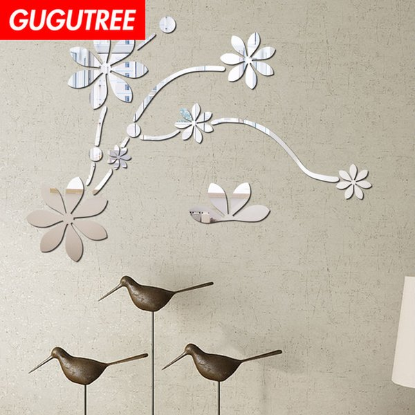 Decorate Home 3D flower leaf cartoon mirror art wall sticker decoration Decals mural painting Removable Decor Wallpaper G-355