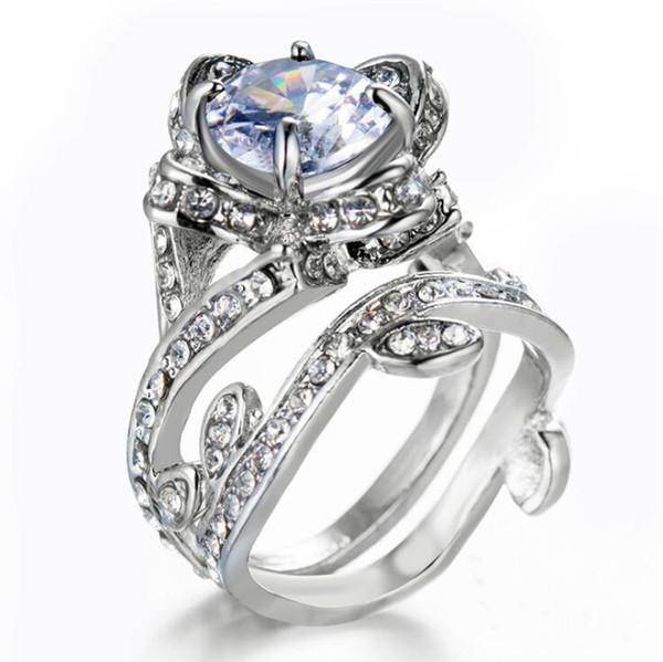 Sterling Silver Flower Leaf Round Cut Clear CZ Diamond 4.50CT Wedding Bridal Ring