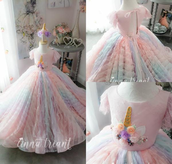 Симпатичные красочные кружева 2019 Flower Girl платья 3D цветочные цветы бусины маленькие дети свадебные платья красивые девушки конкурс Платье платья партии