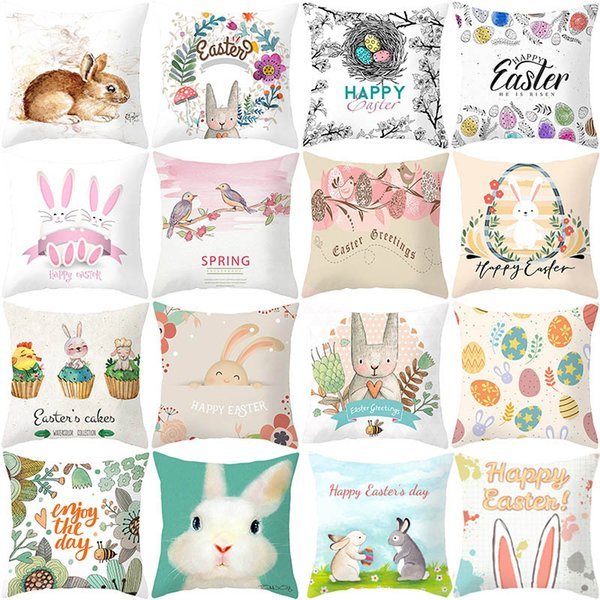 best selling DHL Free Happy Easter Eggs Rabbit Cushion Cover Decorative Pillows Cover For Sofa Seat Soft Throw Pillow Case 45x45cm Home Decor