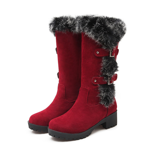 2019 new leather women boots mid heels flock winter ladies fashion plush snow boots shoes mid-calf boots rabbit fur nx-987