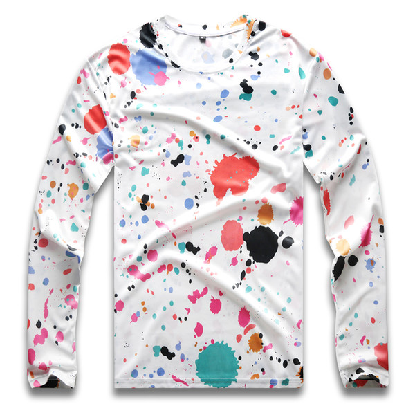 polka dot t shirt for men longsleeve round neck colorful dot tees for men hip hop boy party gay pride autumn
