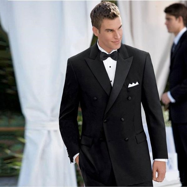 Black Groom Tuxedos Wide Peaked Lapel Men Suits for Wedding Man Suits 2Piece Latest Coat Pants Designs Cotume Homme Slim Fit Terno Masculino