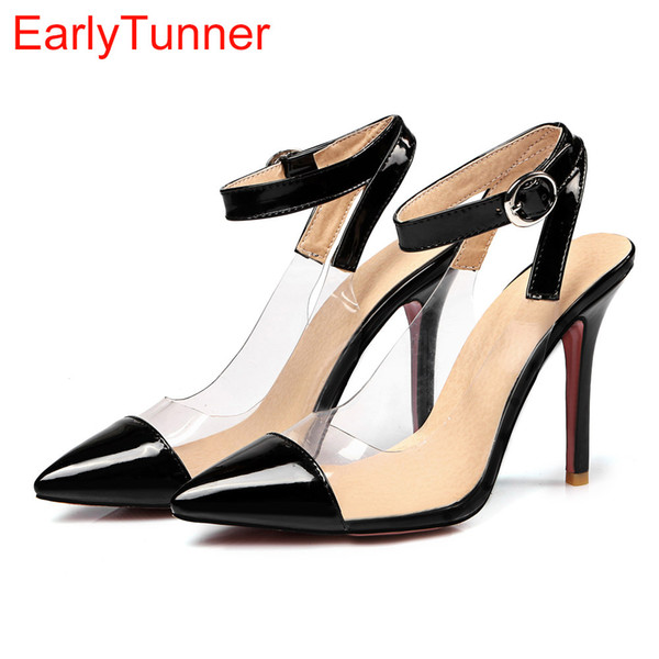 Sales 2017 Brand New Sweet Black Red Women Nude Sandals Apricot Fashion High Heel Lady Casual Shoes EM22 Plus Big Size 12 31 47