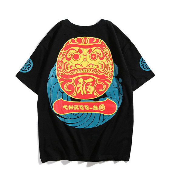 Brand Harajuku Mens Japanese Tumbler Printed Cotton T Shirt Designer Short Sleeve Oversize Hip Hop Casual Boyfriend TShirt Tee LD6008