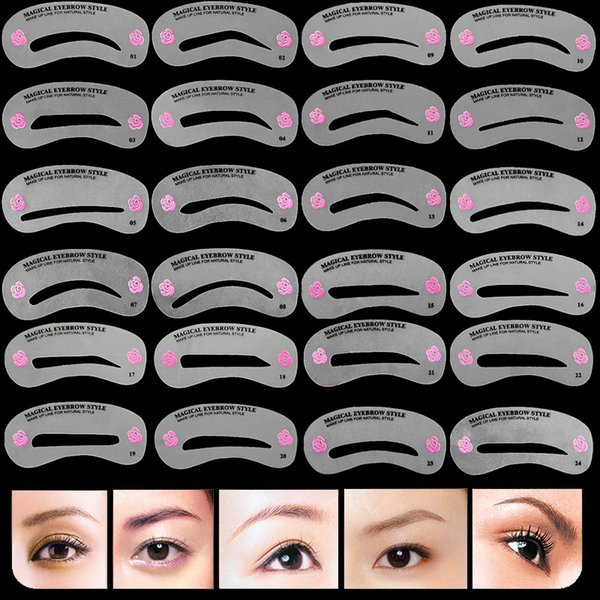 24pcs Eyebrow Make Up Stencils Set Eye Brow Drawing Guide Styling Shaping Grooming Reusable Template Card Makeup Tool