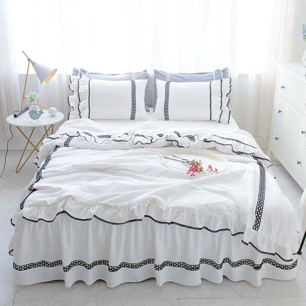 Weiß schwarz Rüschen bett rock Bettwäsche-sets 4 stücke Luxus Prinzessin Spitze Bettbezug Romantische Hochzeit Bettdecke twin King Queen size