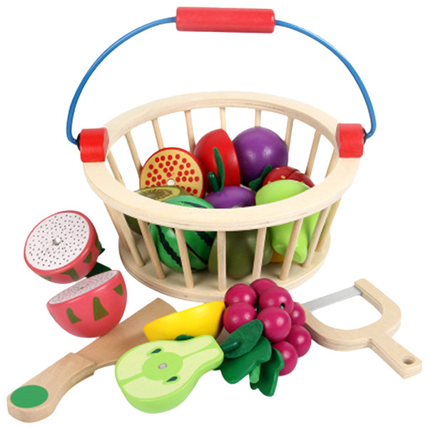 top popular Mother Garden Wooden Basket Kitchen Toys Children Cutting Fruit Vegetable Play Miniature Food Kid Baby Early Educational Play Pretend Toy 2021