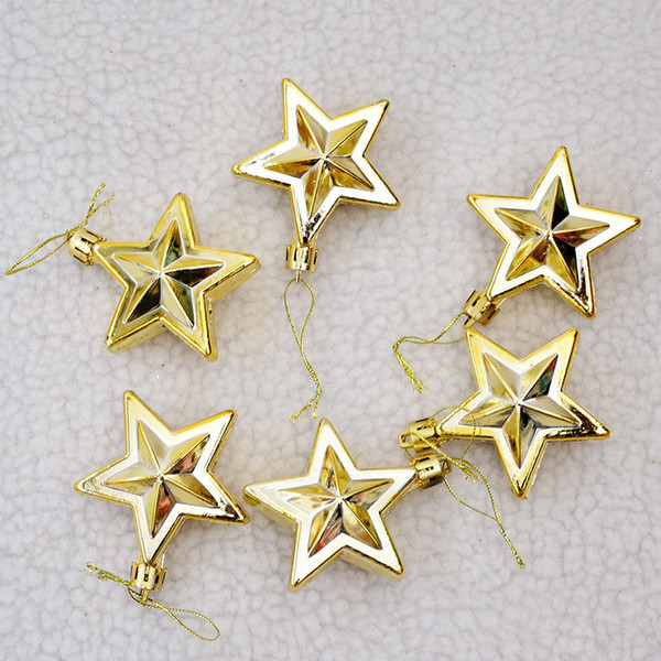 6Pcs/lot 7cm Multicolor Star Christmas Tree Garland Rattan Plastic Pendant New Year Hanging Ornament Home Party Decoration 62629