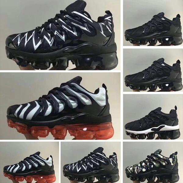2018 Erkekler Kadınlar için Ucuz TN Koşu Ayakkabıları çocuklar Siyah Kırmızı Beyaz TN Ultra KPU Yastık Yüzey sneakers Trainer Ayakkabı boyutu 28-35