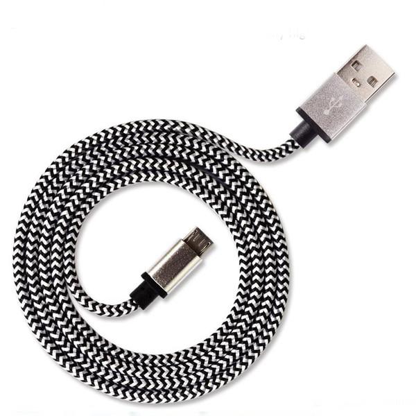 Nueva Calidad Real 1.7A Adaptador de Cable de Cargador USB 1 M Colorido Cable de Fibra de Cable de Cable Trenzado De Aluminio Tejido Para Tipo C Teléfono Móvil Inteligente