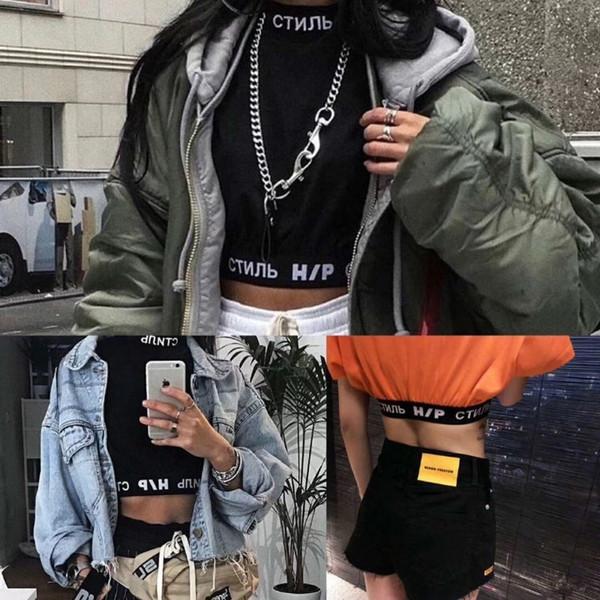 19SS Heron Preston CTNNB Midriff-baring Tops T shirt Trendy Street Fashion Summer Women's T-shirt Photo Printing Fashion Girl TEE HFTTTX064