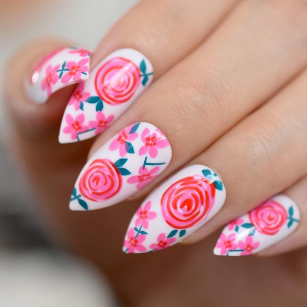 Hot Red Rose Stiletto False Nails Flowers Garden Pattern Press on Almond Fake Nail Tips Daily Office Fingernail Glue on Wear