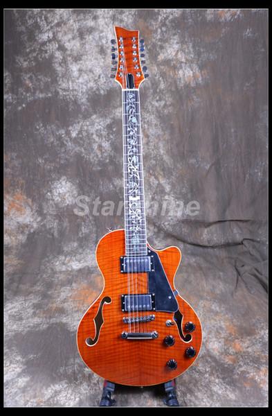 Starshine 12 corde Chitarra elettrica semi-hollow body LJ-12P Intarsio di fiori in acero fiammato
