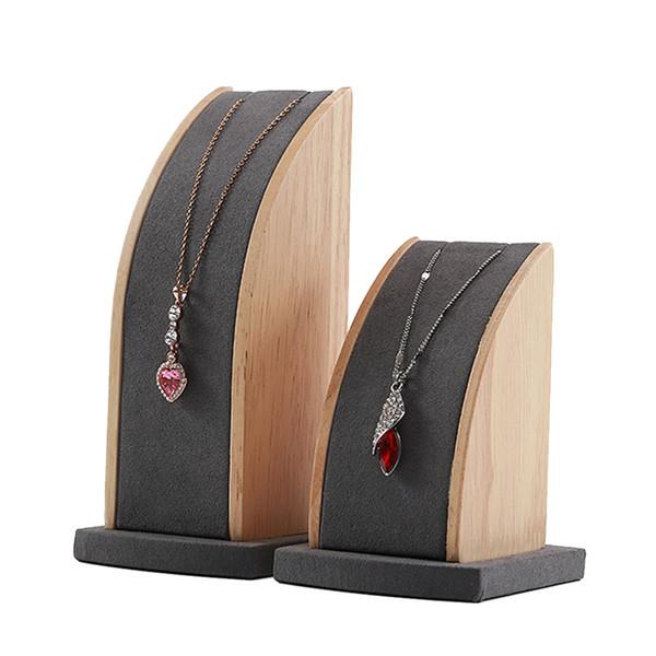 2pcs Bijoux en bois massif Support à plateau Organisateur Showcase pour collier pendentif chaînes Afficher ou de stockage