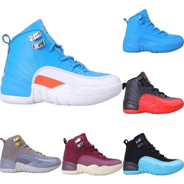 2020 zapatos de baloncesto de piel blanca 12s OVO Gamma Azul Kids medio Originales 12 OVO blanca Buffer zapatos de goma Deportes