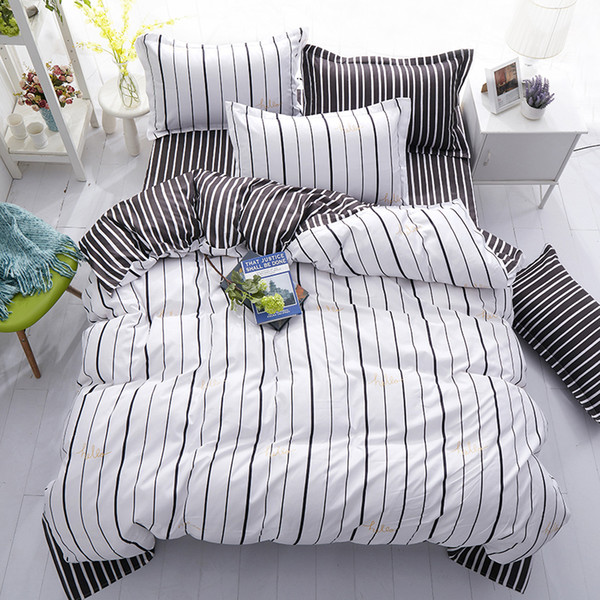 Fashion New Black White Grey Classic Bedding Set Striped Duvet Cover White Bed Linen Set Geometric Flat Sheet Queen Bed