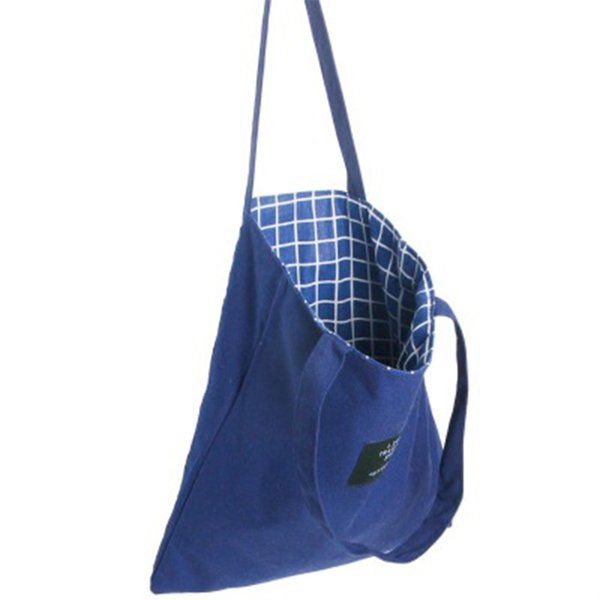 2019 fashion durable double-sided canvas cotton shoulder bag shopping bag plaid female shopping