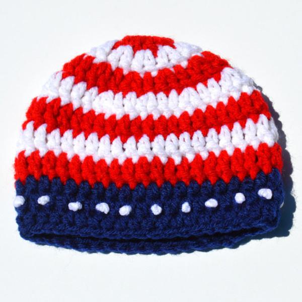 Handmade Knit Crochet Baby Boy Girl Red White Striped Beanie,Kids Adorable Spring Hat,Infant Newborn Photo Prop