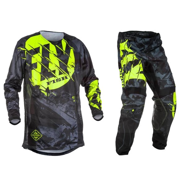 best selling 2020 Fish Pants & Jersey Combos Motocross MX Racing Suit Motorcycle Dirt Bike MX ATV Gear Set