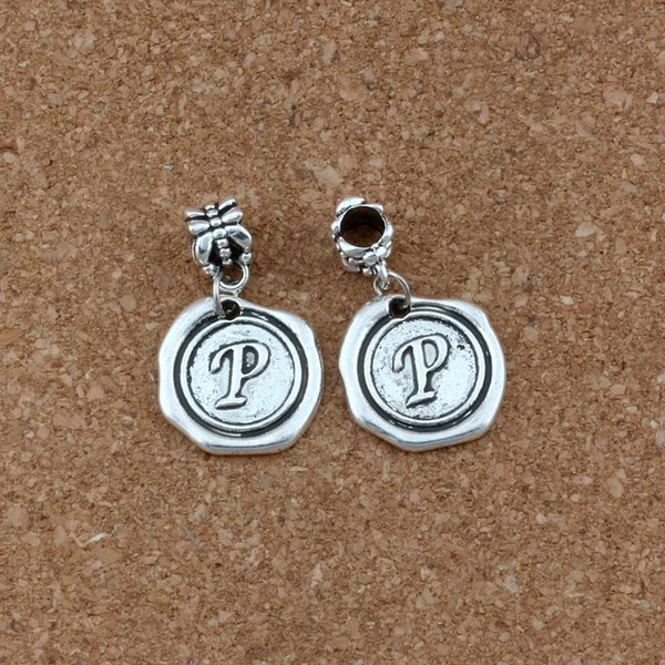 2019 Antique Silver Single Sided Letter P Alphabet Initial Charms Dangle  Bead For European Style Charm Bracelets18x30 5mm A 468a From Bead118,  $15 18