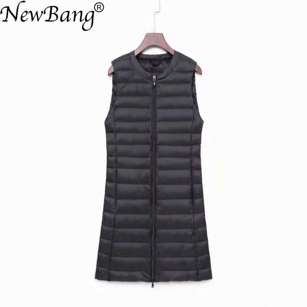 NewBang Brand Women's Long Vest Ultra Light Down Vests Women Female Down Coat Long Slim Sleeveless Two-way Zipper Jacket