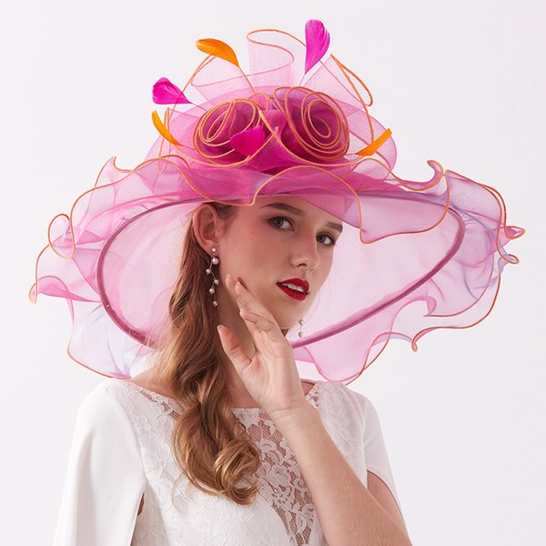 2019 New Detachable Casual Travel Sun Hat Elegant Organza Feather Wedding Party Wide Brim Hats Beach Summer Sun Hats for Women