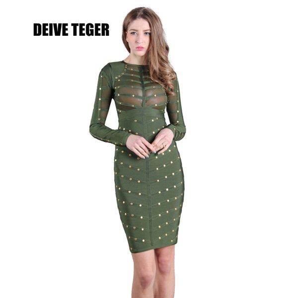 DEIVE TEGER Sexy mujer manga larga de malla 5 COLORES remache verde Vestido tachonado de malla de oliva cuello alto negro bodycon vestidos HL1844