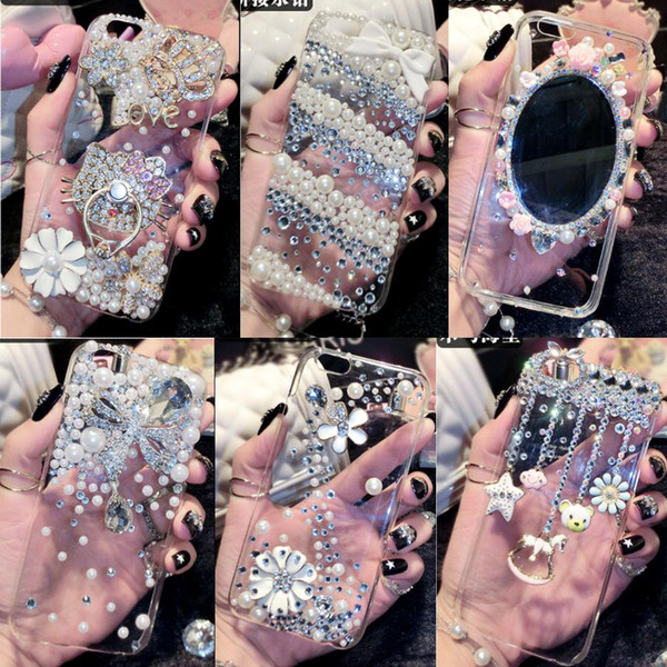 For iPhone X XS Max XR 6 6S 7 8 Plus Handmade Rhinestone Case Diamond Crystal Cover Flower Phone cases