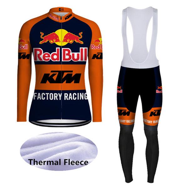 Homens inverno ciclismo jersey Set KTM Equipe mangas compridas térmicas de lã bicicleta camisa bib calças terno estrada bicicleta Outfits sportswear ao ar livre Y081503