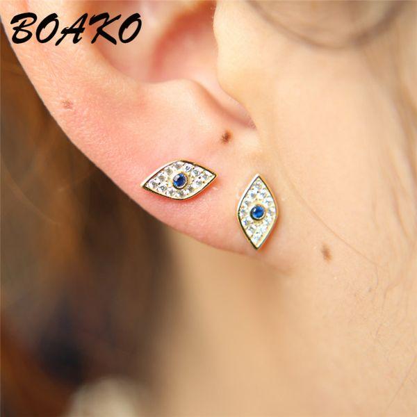 BOAKO Punk Evil Eye 925 boucles d'oreilles en argent sterling pour femmes petites boucles d'oreilles délicates bijoux de mode partie de mariage oreille manchette Clip