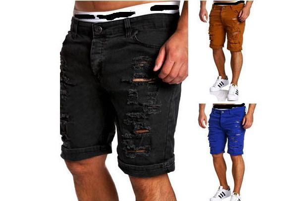 2019 Free hot Brand Men Black Ripped Jeans Short Biker Denim Jeans Summer Casual Slim Fit Water Washed Cotton Straight Men Short