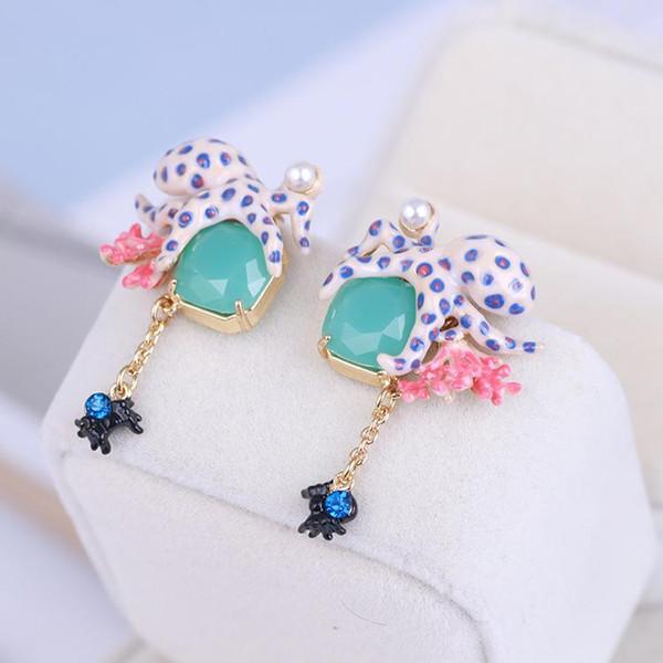 2019 Orecchini smalto di lusso per le donne Moda Alien Creature Coral Dangle Chandelier Orecchini gioielli da sposa femminile