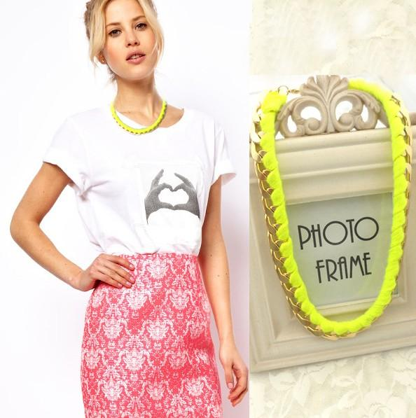 Fashion accessories Jewelry New Arrival Neon Cotton Thread Metal Chain Short Necklace 2013 women HT-95