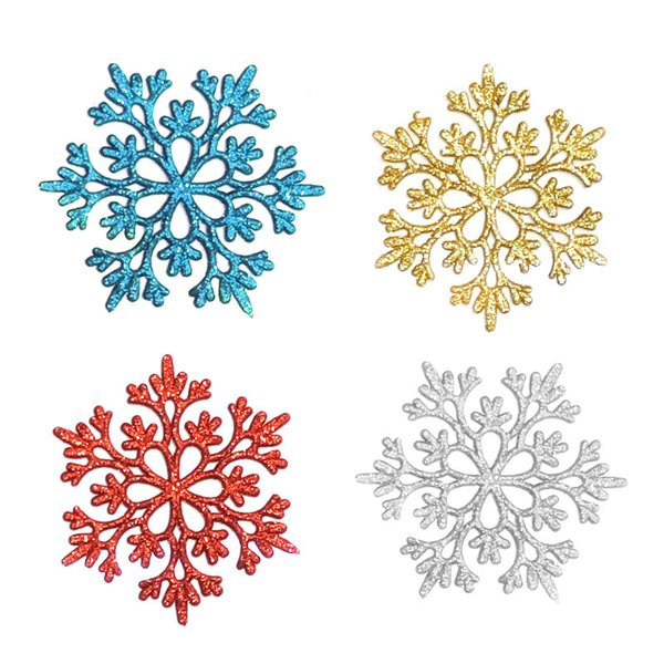 4 Styles 10CM Christmas tree Decoration Plastic Snowflake Xmas Birthday Party New Year Decoration Tree Window For Home Accessories A05