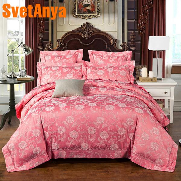 Svetanya jacquard Bedlinen (flat sheet + Pillowcase +Duvet Cover) Queen Double King size wedding Bedding Set