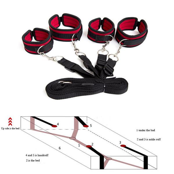 Наручники БДСМ бондаж эротические под кроватью БДСМ бондаж удерживающая система игры для взрослых запястья лодыжки манжеты сексуальное женское белье набор