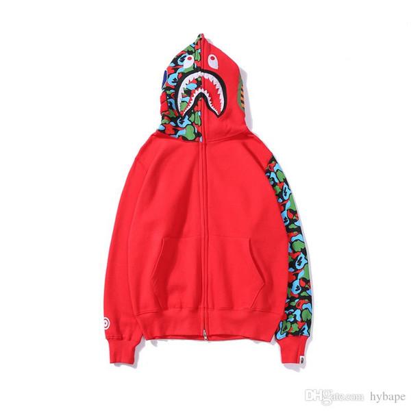 Donne all'ingrosso Uomo manica rossa Camo Stampa Casual Maglione Adolescente Personalità Cardigan Felpe con cappuccio full zip Taglie M-2XL