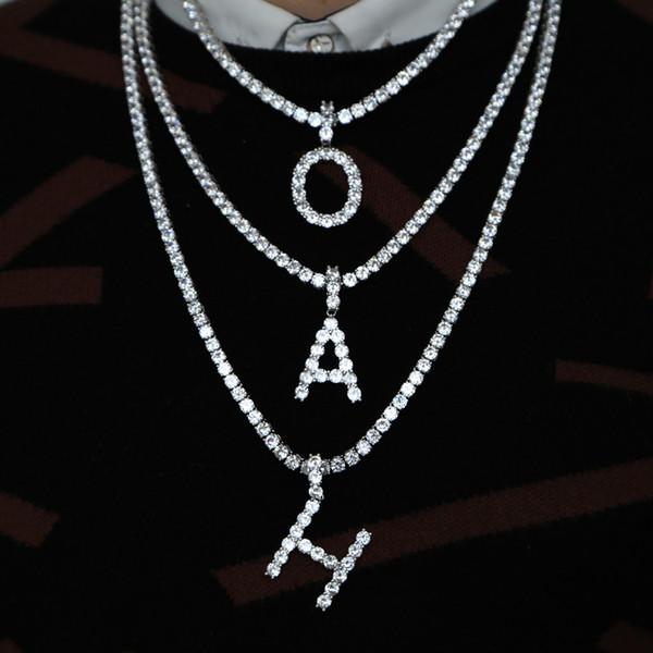 Hip hop A-Z İlk çapraz kolye kolye erkekler takı için altın beyaz altın kaplama ile tenis zincir kolye 26 mektup kolye takı