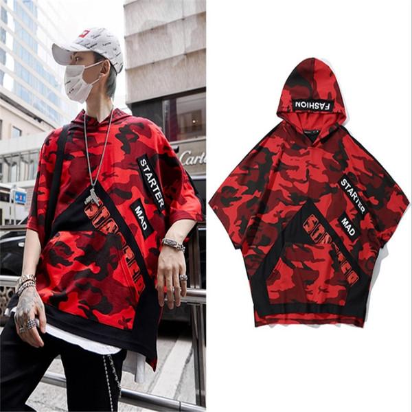 Ins hot Camouflage homens de manga curta estilo coreano imprimir estudantes de hip-hop estilo Harajuku com capuz t-shirt dos homens