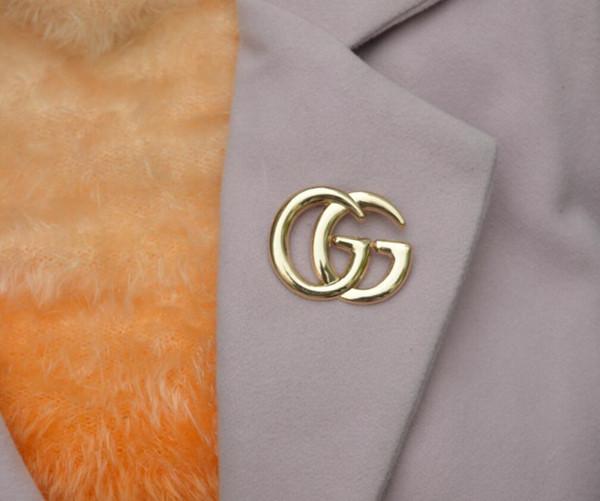 Damenmode Briefe Broschen Doppelschichten Shiny Crystal Gold Silber Corsage Schal Clips Hochzeit Hochzeit Schmuck Anzug Zubehör
