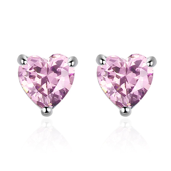 Fashion Shiny CZ Zircon Love Heart 925 Sterling Silver Ladies Stud Earrings Jewelry for Women Wholesale Anniversary Gift