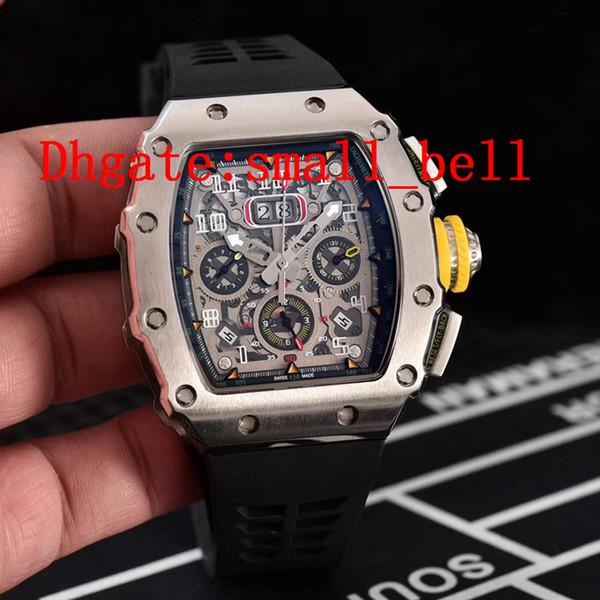 Direto da fábrica novos produtos de prata dos homens relógios de aço inoxidável importado dos homens mecânicos automáticos de 43mm 11-03 relógio de borracha multi-função