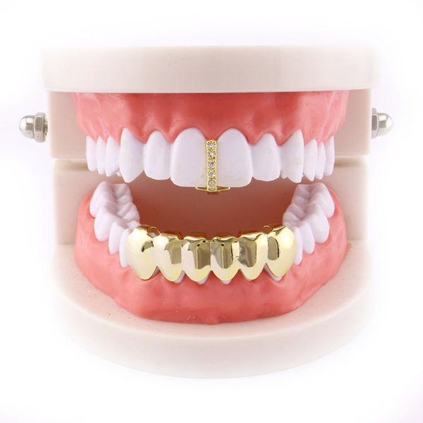 New European and American Electroplating Gold Hip Hop Gold Braces Christmas Creative Decoration Party Props Dental Jewelry