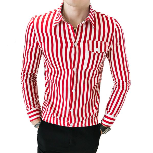 Men's Multi Striped Oxford Dress Shirt with Left Chest Pocket Smart Casual Regular Fit Button-down Party Dress Skinny Shirt