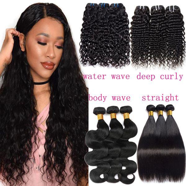 Feixes de tecer cabelo humano em linha reta malaio 8a brasileiro onda de água cabelo virgem Não processado peruano profundas extensões de onda do corpo encaracolado