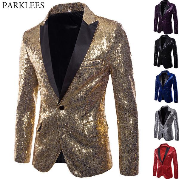 Ouro brilhante Lantejoula Glitter embelezado Blazer Jacket Men Nightclub Prom Suit Blazer homens do traje Homme Stage roupas para cantores MX190805