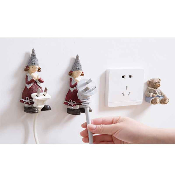 Cartoon resin socket power cord storage hook creative cute hook plug viscose bracket